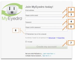 Screenshot of MyEyedro Client - Account Access