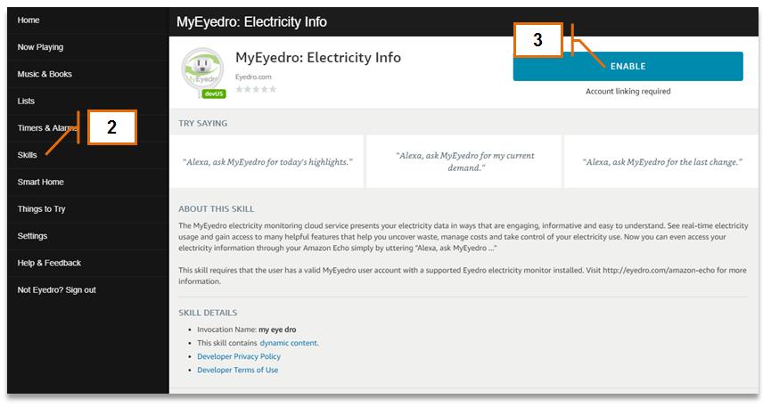 Screenshot of MyEyedro Client - Amazon Echo