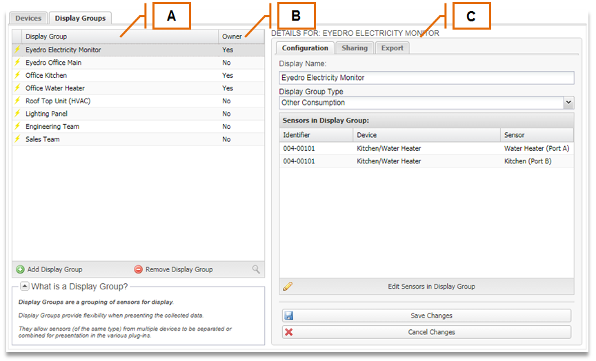 Screenshot of MyEyedro Client - Display Groups