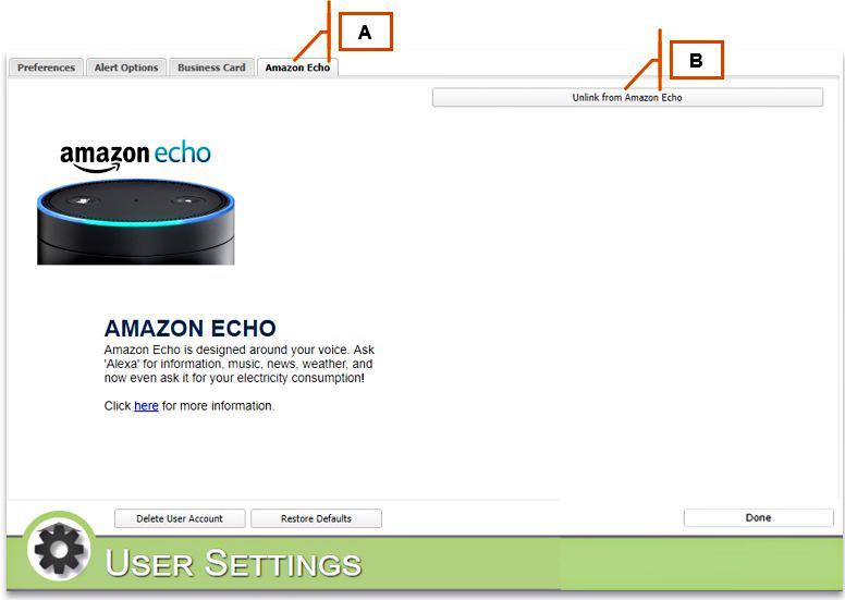 MyEyedro User Settings Amazon Echo Tab