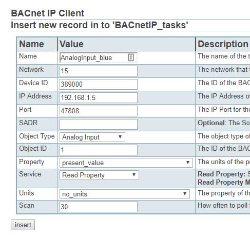 Screenshot of Adding BACnet IP tasks