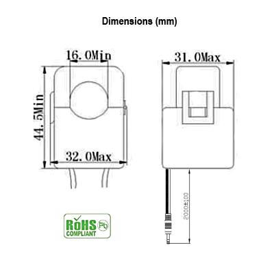 100 Amp Split Core Current Sensor Dimensions