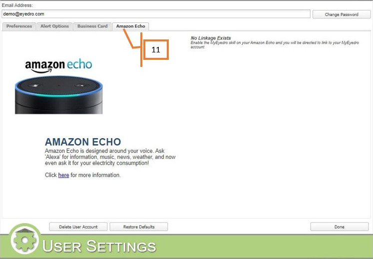 MyEyedro User Settings Amazon Echo tab