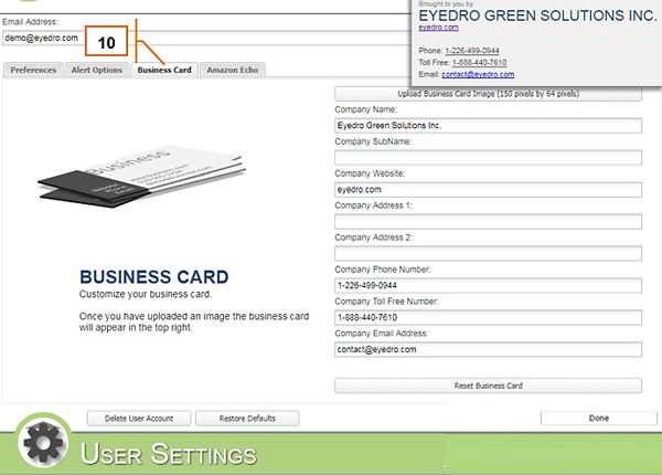 MyEyedro User Settings Business Card Tab