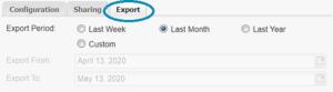 MyEyedro Export tab